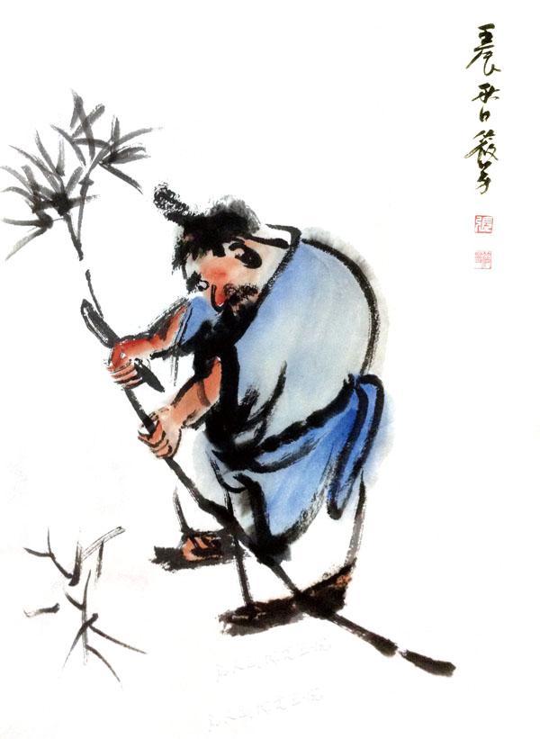 写意人物《何为佛法砍竹去》